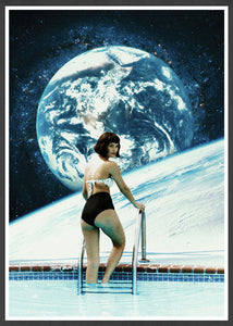 Space Pool Surreal Collage Print