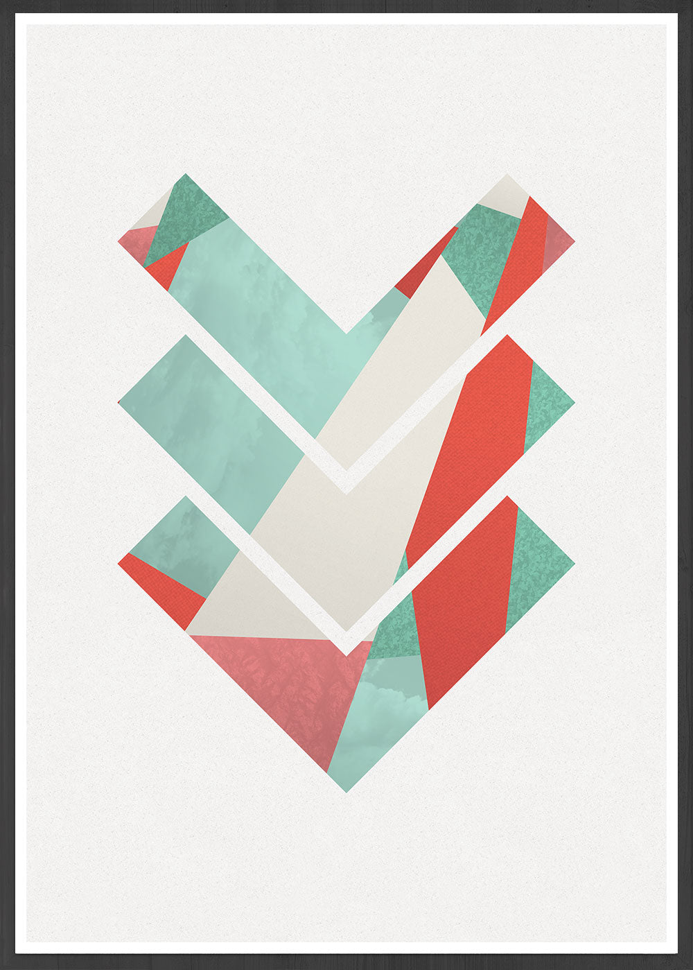 3 Arrows Minimal Geometric Art Print in a frame