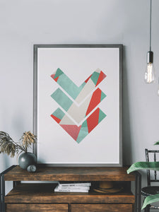 3 Arrows Minimal Geometric Art Print on a shelf