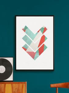 3 Arrows Minimal Geometric Art Print on a wall