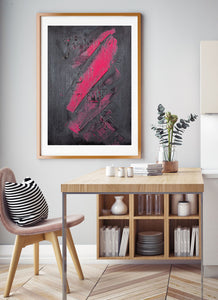 A Hint of Pink Painting Print in beautiful kitchen interior
