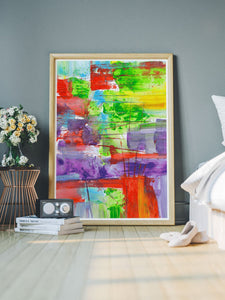 Bazloc Abstract Art Poster in a modern bedroom