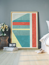 Load image into Gallery viewer, Beach Hut Geometric Art Print in a bedroom