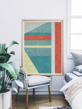 Load image into Gallery viewer, Beach Hut Geometric Art Print in a modern room