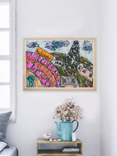 Load image into Gallery viewer, City I Illustration Print in a modern room interior
