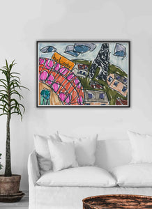 City I Illustration Print in a traditional room interior