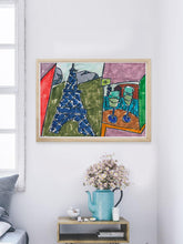 Load image into Gallery viewer, City IV Artwork Print in a modern bedroom interior