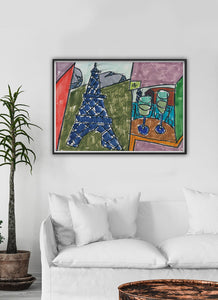 City IV Artwork Print In A Traditional Lounge Interior