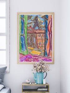 City LI Sketch Art Print in a mdoern room interior