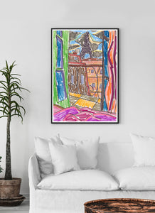 City LI Sketch Art Print in a traditional room interior
