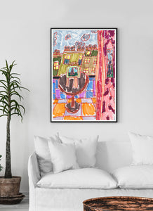 City LV Art Print in a traditional room interior