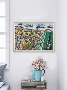 City XII Illustration Art Print in a modern room interior