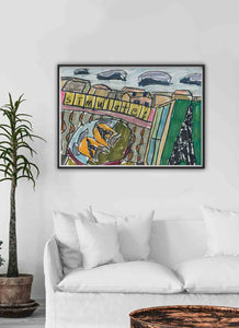 City XII Illustration Art Print in a Traditional Room Interior