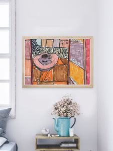 City XLVIII Paris Art Print in a modern bedroom