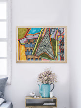 Load image into Gallery viewer, City XV Illustration Wall Art in a modern room interior