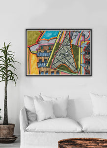 City XV Illustration Wall Art ina  traditional room interior