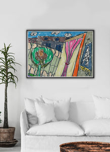 City XVII Illustration Print on a traditional wall interior