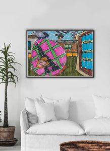 City XVIII Illustration Print in a traditional room