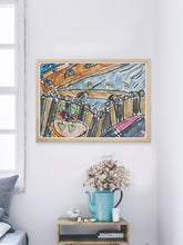 Load image into Gallery viewer, City XXXVI Drawing Print in a modern room interior