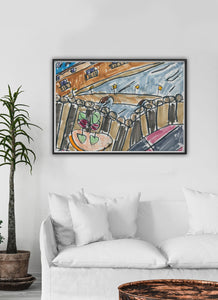 City XXXVI Drawing Print in a Traditional Room Interior