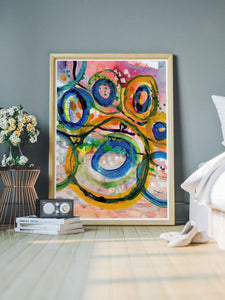 Gioia Abstract Acrylic Print in a nice bedroom