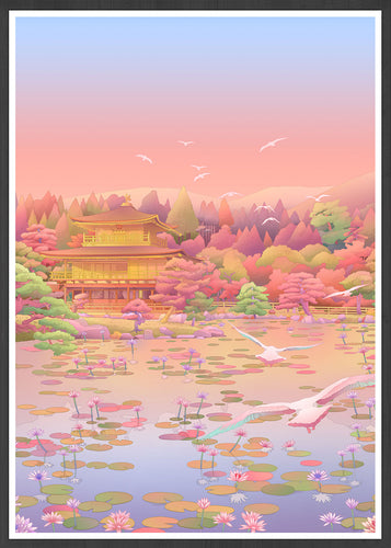 Kinkaku-Ji Japanese Illustration Print