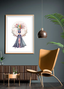 Lady Flower No3 Flower Collage Wall Art