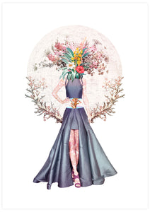 Lady Flower No3 Flower Collage Poster