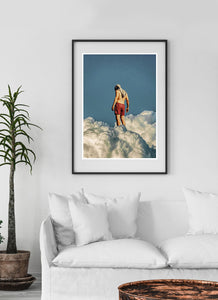 Man the Cloud Surreal Collage Art Poster