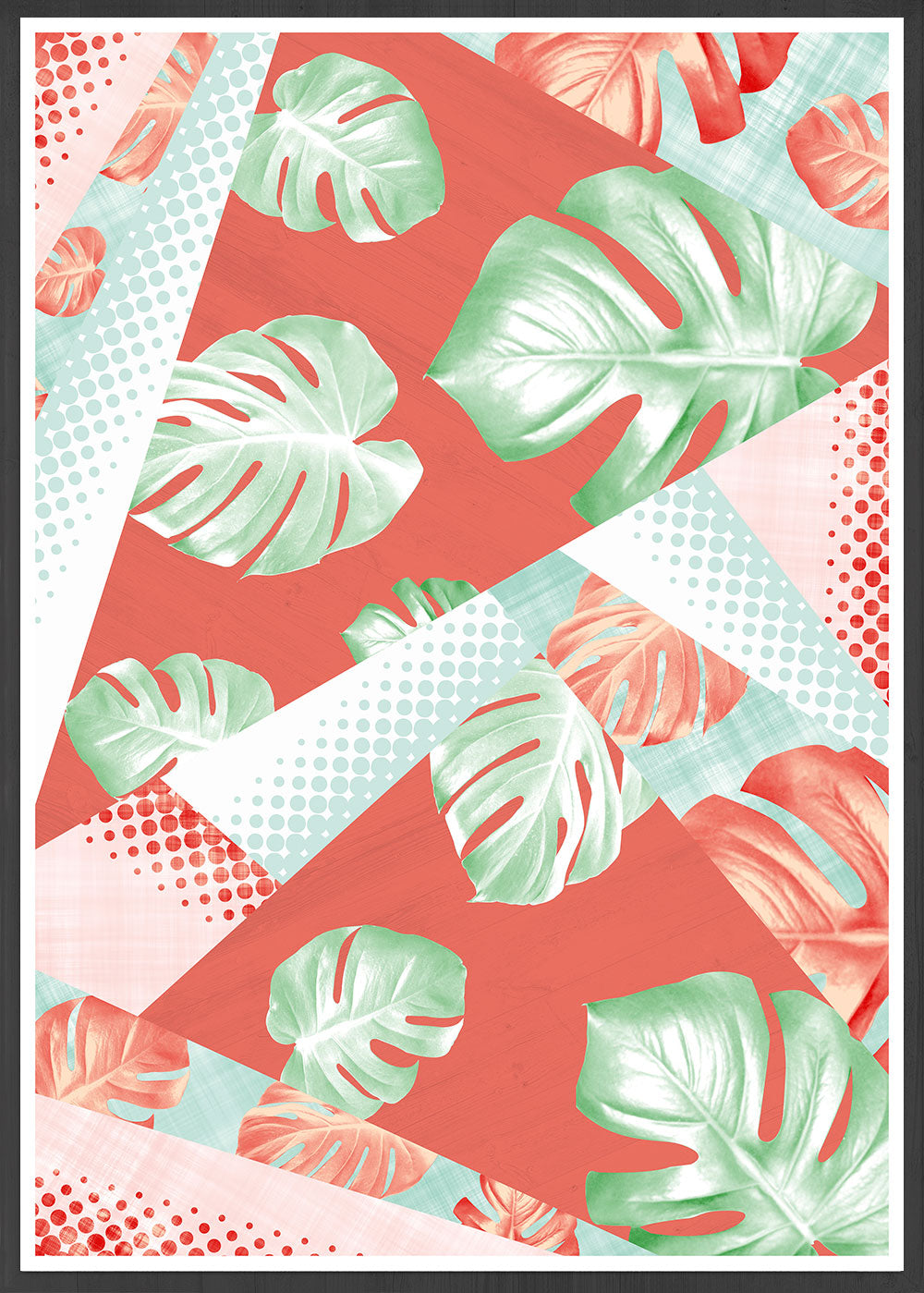 Gorgeous on trend Monstera Coral Botanical Pattern Print in a frame