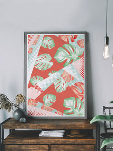 On trend Monstera Coral Botanical Pattern Print in a modern room
