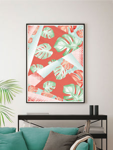 Stylish Monstera Coral Botanical Pattern Print on a wall