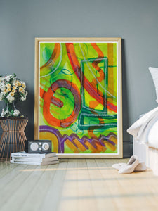 Perlie Abstract Fine Art in a bedroom interior