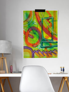 Perlie Abstract Fine Art ina desk area