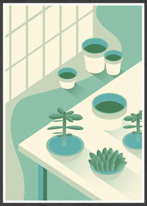 The Potting Shed Plant Art Print in a frame