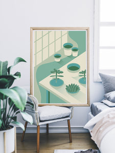 The Potting Shed Plant Art Print in a modern room