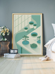 The Potting Shed Plant Art Print in a bedroom