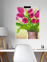 Load image into Gallery viewer, Pussycat Flower Painting Art in a modern study