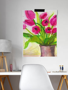 Pussycat Flower Painting Art in a modern study