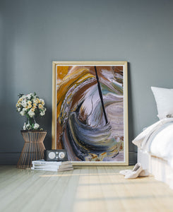 Scorched Earth Abstract Painting in a stylish bedroom