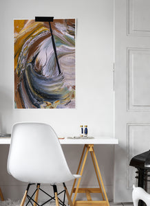 Scorched Earth Abstract Painting in a trendy room interior
