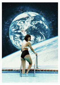 Space Pool Surreal Poster Print