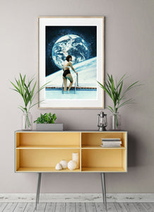 Space Pool Retro Collage Poster Art