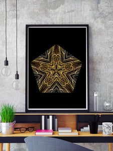 Akira Mandala Wall Art in a frame on a shelf