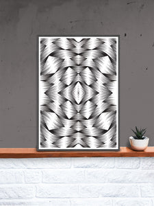 All Seeing I Monochrome Art Print in a frame on a shelf
