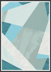 Aqua Blue Geometric Pattern Print in a frame