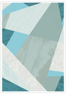 Aqua Blue Geometric Pattern Print with no frame