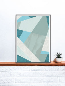 Aqua Blue Geometric Pattern Print on a shelf
