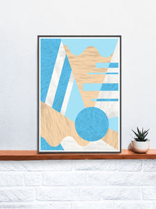 Geometric Prints Wall Art in a frame on a shelf