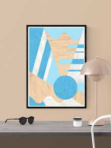 Aqua Coral Geometric Prints Wall Art in a frame on a wall
